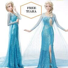 Frozen Elsa Fancy Dress Party Costume Blue  adult all sizes Rhinestone WIG