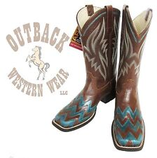 Ariat Women's On Point Brown Teal Chevron Wide Square Toe Cowboy Boots 10015353