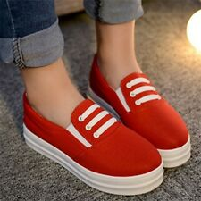 2015 NEW Women Casual Canvas Slip On Flats Sneakers Loafers Solid Platform Shoes