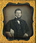 1/6 PLATE DAGUERREOTYPE PORTRAIT OF A SMILING BEARDED HANDSOME YOUNG MAN