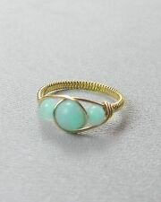 Amazonite Bead 14 K Gold Fill Wire Ring any size