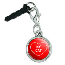 Mobile Cell Phone Jack Anti-Dust Charm fits iPhone iPod I Love Heart My C-F