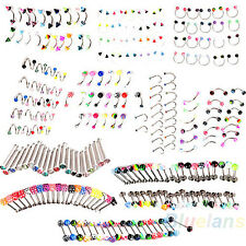 20PCS MIXED EYEBROW TONGUE NOSE NAVEL BELLY BUTTON STUDS BODY PIERCING AMIABLE