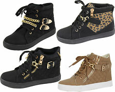 WOMENS FAB LINED WINTER ANKLE BOOTS LADIES HIGH TOP SHOES GIRLS PLIMSOLE TRAINER