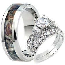 Titanium Oak Tree Camouflage Men's Mossy Camo Band Her Sterling Silver Ring Set