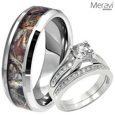 Women 925 Sterling Silver Ring & Men Titanium Mossy Forest Oak Camo Wedding Band