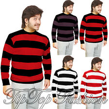 ADULTS MEN'S KNITTED JUMPER FANCY DRESS CHARACTER SWEATERS CASUAL STRIPPED TOP
