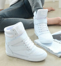 New Women Lace Up Casual Shoes Athletic Velcro Sneaker High Top Wedge Heel Boots