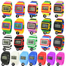 UNISEX Womens Mens LED Sports Stripe Silicone Watches Digital Wristwatch NEW