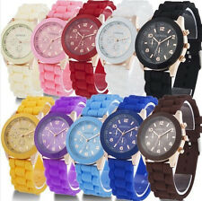 2015! HOT! NEW! Unisex Geneva Silicone Jelly Gel Quartz Analog Sport Wris