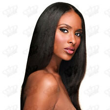 Ladies Silky Straight Natural Black Glueless Long Synthetic Lace Front Wig 1B-2#