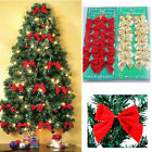 12x Bow Christmas Tree Decoration Hanging Xmas Ornament Bowknot Home Decor Party