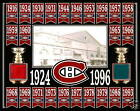 MONTREAL CANADIENS 24 STANLEY CUP BANNER 8x10 PHOTO MONTREAL FORUM RED-BLUE SEAT