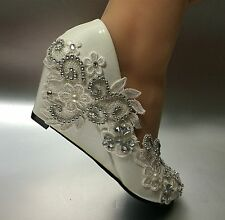 """5/8"""" white light ivory lace crystal Wedding shoes Bridal high heels pumps size"""