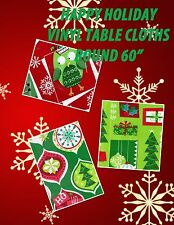 """Happy Holiday Vinyl Christmas Round 60"""" Tablecloths Flannel Lined 3 Choices"""