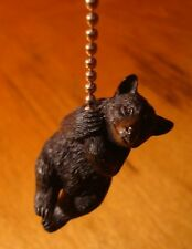 ADORABLE BLACK BEAR HANGING ON CEILING FAN LIGHT PULL CHAIN CABIN DECOR - NEW
