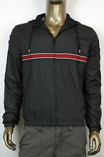 New Authentic Gucci Mens Full Zip Hooded Windbreaker Jacket Black 322977 10