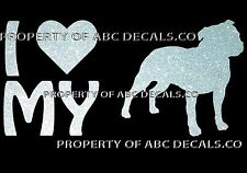 VRS LOVE My Dog STAFFORDSHIRE BULL TERRIER HEART Rescue CAR DECAL METAL STICKER