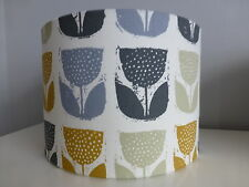 Prestigious~Saffron*Grey*Charcoal Poppy Pod Fabric Drum Lampshade  30cm diameter