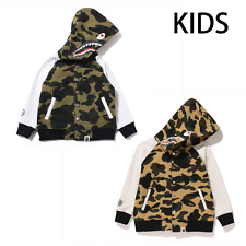 A BATHING APE BAPE KIDS 1ST CAMO SHARK VARSITY HOODIE JACKET 2colors Japan New