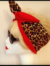 Rockabilly Style 1950s Hairband - Leopard Print & Red
