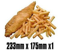 BIG Exterior Catering FISH & CHIPS Decal Cut Printed UV Laminated  Food Sticker