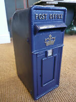 Cast iron post box in Scottish Blue in Royal mail style