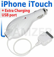 Quality 2-in-1 Retractable Car Charger iPhone 4 4S 3GS iPod Touch 3 2 Nano Video