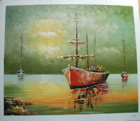 "BOATS AT SEA ART OIL PAINTING 20x24"" BARGAIN"