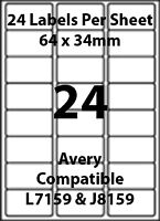 Avery J8159 Compatible Inkjet/Laser - 24 Printer/Copier Labels - 5 Sheets