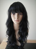 Womens Black Long COSPLAY WIG Curly Hair Fancy Dress