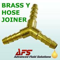 "Brass Y Piece 6mm 1/4"" BARBED 3 way Fuel Hose Joiner uk"