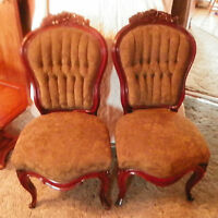 Pair Walnut Carved Sidechairs  / Parlor Chairs-green print  chenille  (SC40)