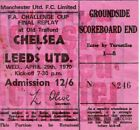1970 FA Cup Final Replay ticket ....Chelsea v Leeds Utd