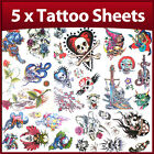 5 x Sheets Party Pack of Skull Boys Temporary Tattoos 1