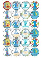 BOY 1ST BIRTHDAY CUP CAKE Rice Paper Photo Toppers x 24