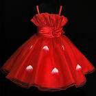 Reds Communion Christmas Wedding Party Flower Girls Dresses SIZE 2-3-4-5-6-7-8Y