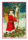 Victorian Father Christmas Santa Claus Antique Card Counted Cross Stitch Chart