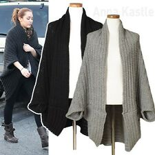 AnnaKastle New Womens Chunky Sweater Cocoon Wrap Cardigan size M - L Black Gray