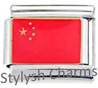 CHINA CHINESE FLAG Enamel Italian Charm 9mm - 1 x PE006 Single Bracelet Link