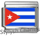 CUBA CUBAN FLAG Photo Italian Charm 9mm - 1 x PC043 Single Bracelet Link