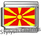 MACEDONIA MACEDONIAN FLAG Photo Italian Charm 9mm- 1x PC105 Single Bracelet Link