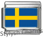 SWEDEN SWEDISH FLAG Photo Italian Charm 9mm - 1 x PC169 Single Bracelet Link