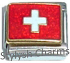 SWITZERLAND SWISS FLAG Ceramic Italian Charm 9mm - 1x PQ049 Single Bracelet Link