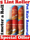 5 Lint Rollers Fluff/Pet/Cat/Dog Hair Remover / Removal Clothes Furniture Car