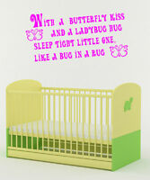 WITH A BUTTERFLY...KIDS NURSERY ROOM WALL MURAL QUOTE ART DECAL STICKER VINYL