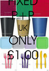 Party Tableware - Plates,Cups,Napkins,Table covers .21 colours ..UK P+P £1 FIXED