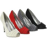 LADIES WEDDING SHOES WOMENS SATIN EVENING PARTY PROM BRIDESMAID HEELS COURT SIZE