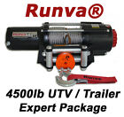 4500lb New Runva ATV UTV Trailer 12V Towing Recovery Electric Winch Kit