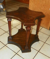 Walnut Book Match Veneered Side Table End Table by Weiman  (T197)